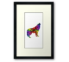 Colourful Wolf Howling For Animal Lovers Framed Print