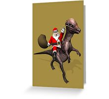 Santa Claus On Pachyosaurus Greeting Card