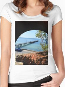 Seaside Views, Through A Cliff Face Tunnel. Women's Fitted Scoop T-Shirt