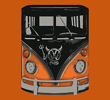 Orange Camper Van with Devil Emblem Art by funandhappy