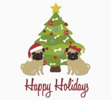 Happy Holidays Christmas Pugs and Tree One Piece - Short Sleeve