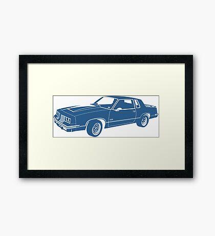Cartoon blue classic car  Framed Print