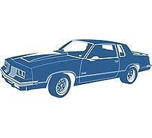 Cartoon blue classic car  Photographic Print