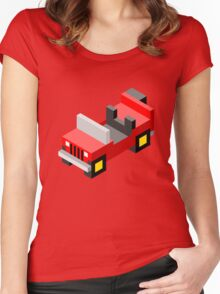 Isometric red off-road car Women's Fitted Scoop T-Shirt