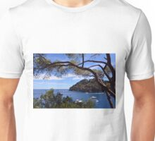 Natural landscape with boats in the water in Portofino, Italy. Unisex T-Shirt