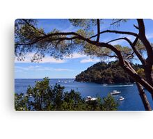 Natural landscape with boats in the water in Portofino, Italy. Canvas Print