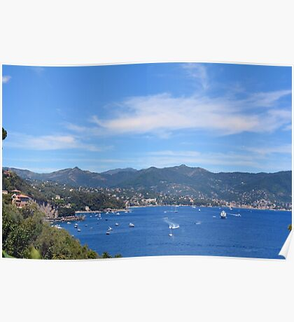 Natural landscape with boats in the water in Portofino, Italy. Poster