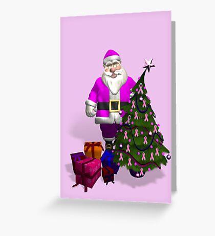 Santa Claus Dressed In Pink Greeting Card
