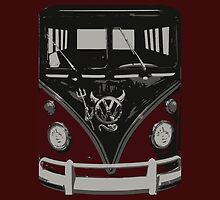 Maroon Camper Van With Emblem Art by funandhappy