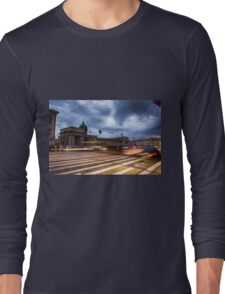 blurred traffic under stormy skies Long Sleeve T-Shirt