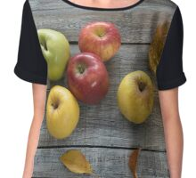 Apple cider in  bottle,  and fresh apples on wooden background Chiffon Top