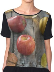 Apple cider in bottle  and fresh apples on nature background Chiffon Top