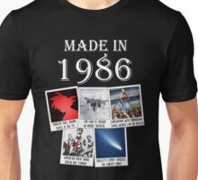 Made in 1986, main historical events Unisex T-Shirt