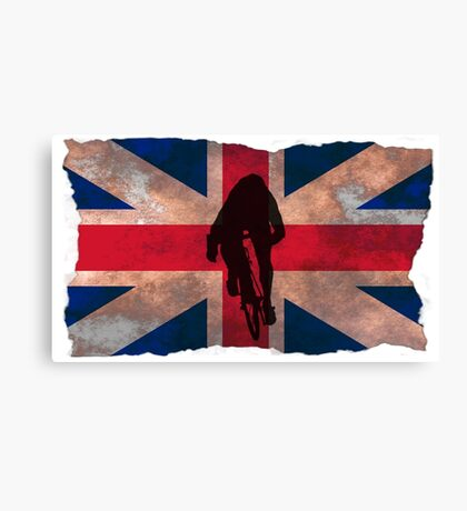 Cycling Sprinter on UK Flag Canvas Print