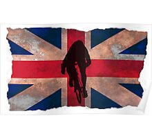 Cycling Sprinter on UK Flag Poster