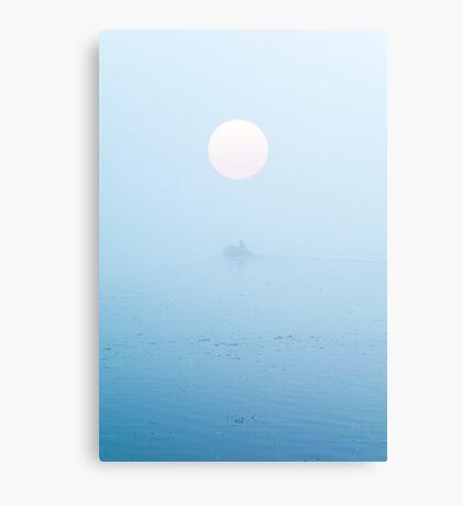 Fisherman on boat in fog Canvas Print