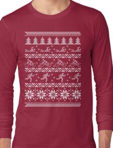 Tri triathlon ugly christmas sweater xmas Long Sleeve T-Shirt
