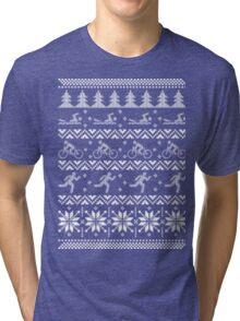 Tri triathlon ugly christmas sweater xmas Tri-blend T-Shirt
