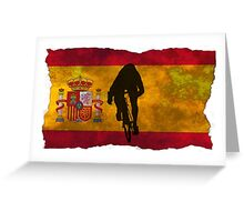 Cycling Sprinter on Spanish Flag Greeting Card