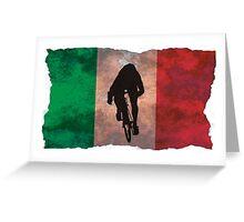 Cycling Sprinter on Italian Flag Greeting Card