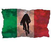 Cycling Sprinter on Italian Flag Photographic Print