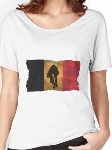 Cycling Sprinter on Belgian Flag Women's Relaxed Fit T-Shirt