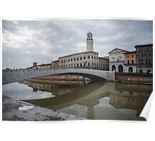 Architecture of Pisa city with traditional narrow streets, Italy Poster