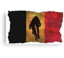 Cycling Sprinter on Belgian Flag Canvas Print