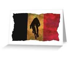 Cycling Sprinter on Belgian Flag Greeting Card