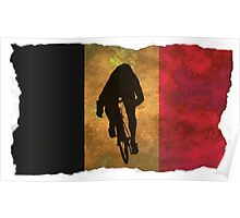 Cycling Sprinter on Belgian Flag Poster