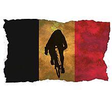 Cycling Sprinter on Belgian Flag Photographic Print