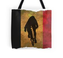 Cycling Sprinter on Belgian Flag Tote Bag