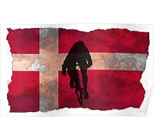 Cycling Sprinter on Denmark Flag Poster