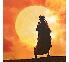 collage : young Buddhist monk Photographic Print