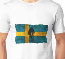 Cycling Sprinter on Swedish Flag Unisex T-Shirt
