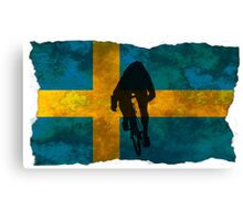 Cycling Sprinter on Swedish Flag Canvas Print