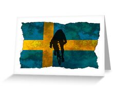 Cycling Sprinter on Swedish Flag Greeting Card