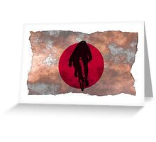 Cycling Sprinter on Japanese Flag Greeting Card