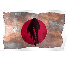 Cycling Sprinter on Japanese Flag Poster