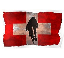 Cycling Sprinter on Swiss Flag Poster