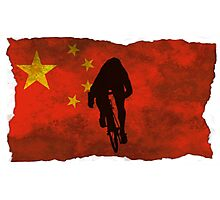 Cycling Sprinter on Chinese Flag Photographic Print