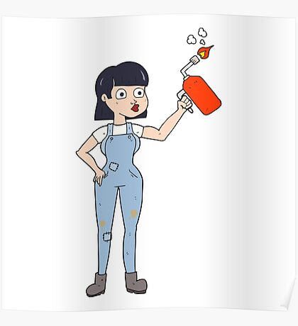 cartoon woman in dungarees Poster