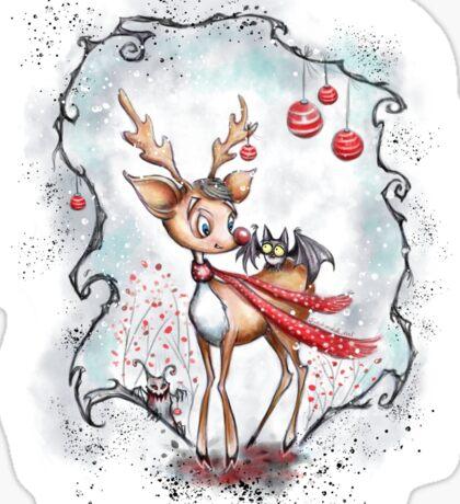 Creepy Cute Christmas Reindeer and Bat Sticker