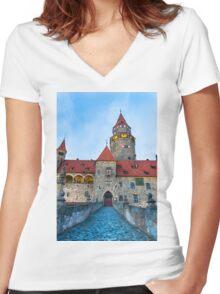 Bouzov Castle Women's Fitted V-Neck T-Shirt