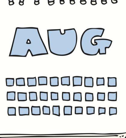 cartoon calendar showing month of august Sticker