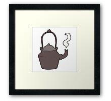 cartoon old black kettle Framed Print