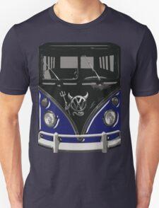 Navy Blue Camper Van With Devil Emblem Art T-Shirt