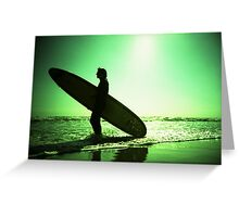 Surfer carrying surfboard in surreal silhouette in green in sea ocean water by beach 35mm analog xpro cross lomo lca photo Greeting Card