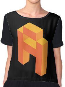 Isometric orange letter A Chiffon Top