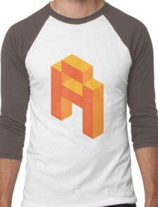 Isometric orange letter A Men's Baseball ¾ T-Shirt